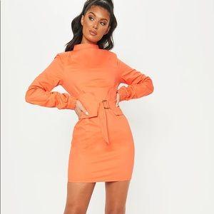 Pretty little thing orange cinched waist dress